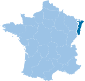 Map of France with Alsace highlighted