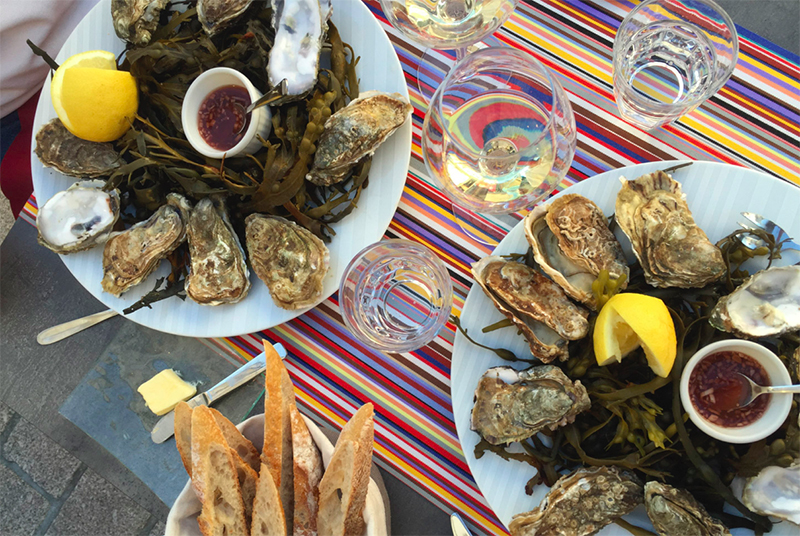 Oysters and wine in a French bistro.